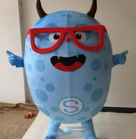 2019 Hohe qualität heißer Blauer Dämon Maskottchen Eva Cartoon Kleidungsstück Kleidung Weihnachten Karneval Hallowmas Party Niedlichen blauen Maskottchen Kostüm
