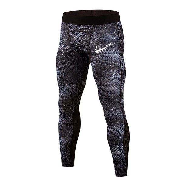 Men's mesh print tights stretch super good running pants fast dry breathable fitness bodybuilding pants
