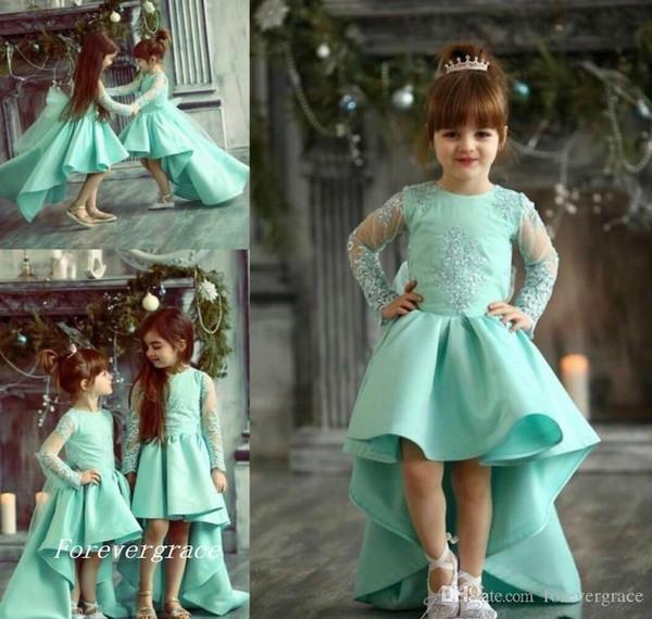 2019 Chic High Low niedliche Prinzessin Langarm Mädchen Festzug Kleid Vintage arabische Spitze Party Blumenmädchen hübsches Kleid für kleines Kind