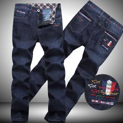 НОВЫЕ Горячие продажи Модельер Джинсы Высокое качество Мужские брендовые Джинсы Акула брюки Марка Мужчины Прямые Темно-синие брюки