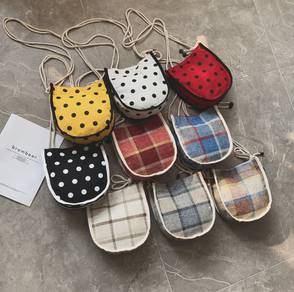 2019 Summer new kids canvas casual bag girls plaid single shoulder bag children polka dots printed messenger bag children's day gift F6674