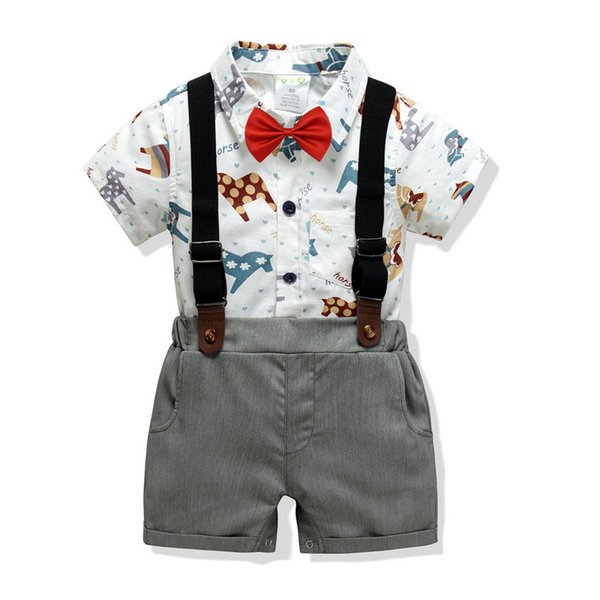 Baskılı Romper + kravat + pantolon + askı Boy Bebek 4 adet Set Kısa Kollu Bebek Setleri Gentry Bebek Pantolon Suit Tops