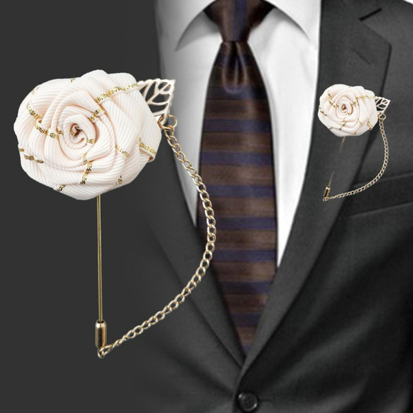 Mariage corsages et Boutonnier Gold Line artificielle plat fleur de mariage Groom Groomsmen Corsage Costume Broche décorative Corsage