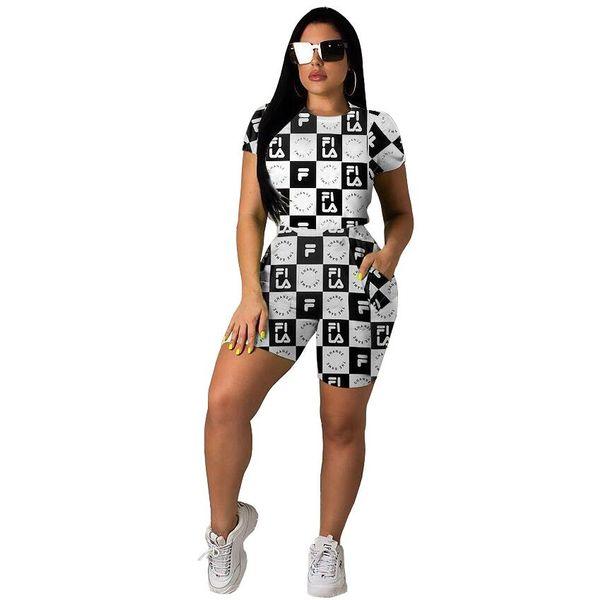 Plus Size women two piece set lattice Print T shirt and shorts outfits tracksuit women summer Sports suit fashion Party Suit Black Red