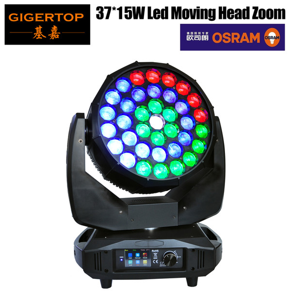 Freeshipping 650W High Power Osram 37x15W Led Moving Head Zoom Light Color Ring Control RGBW 4IN1 DMX512 18/42 CH Beam Wash