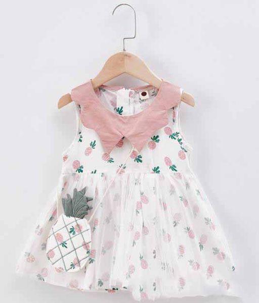 Nueva ropa de verano para niñas Vestido sin mangas con estampado de piña Pan para mascotas Diseño de vestido Vestido con bolso 100% algodón Vestido de ropa de niña de verano