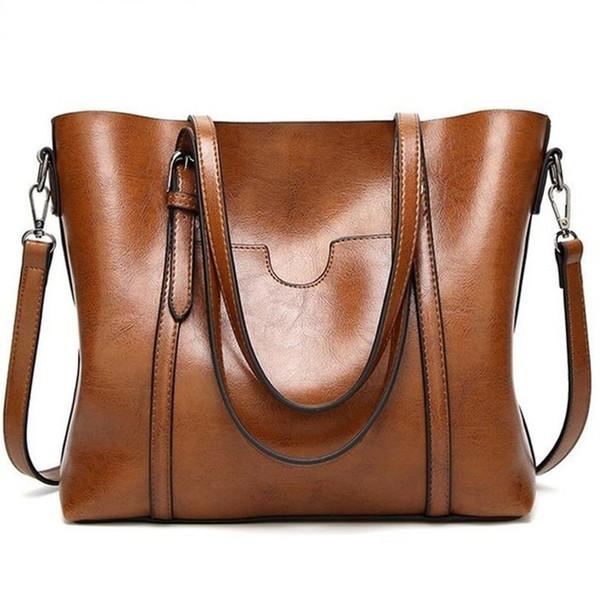 Women bag Oil wax Women's Leather Handbags Luxury Lady Hand Bags With Purse Pocket Women messenger bag Big Tote Sac Bols
