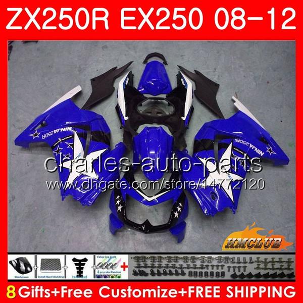 Corpo Para KAWASAKI NINJA EX-250 ZX 250R ZX250 R EX 250 Kit 13HC.168 EX250 08 09 10 11 12 ZX250R 2008 2009 2010 2011 2012 Carenagem brilhante azul