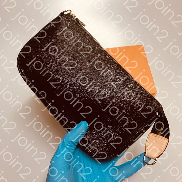 POCHETTE ACCESSOIRES Damenmode Clutch Abend Mini Bag Kleine Schulter Handtasche Tagesetui Braun Canvas Leder mit Staubbeutel