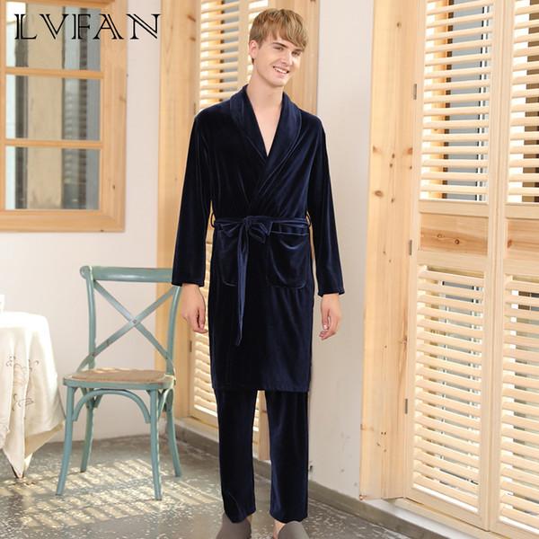 Les pyjamas d'hiver pour hommes portent des sous-vêtements de lingerie deux pièces costume chemise de nuit à la maison pour Velvet LVFAN SR372 pour hommes explosifs