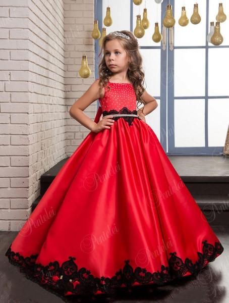 Vestidos de Navidad para niñas rojas con detalles en negro y cristales de lazo grande Vestidos de fiesta para niñas pequeñas de raso y línea por encargo