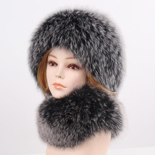 2019 Winter-Frauen-Qualität Knit wirkliche Fox-Pelz-Hut-Schal der neuen 100% natürliche weiche Fox-Pelz-Schal-Dame-Fashion Warm wirkliche Fox-Pelz-Caps
