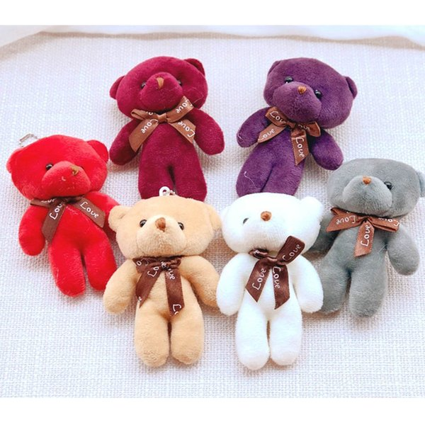 6 Colors Kawaii 12CM Mini Joint Bear Plush Stuffed Toy Doll for Wedding Party DIY Flower Bouquet Decoration Doll
