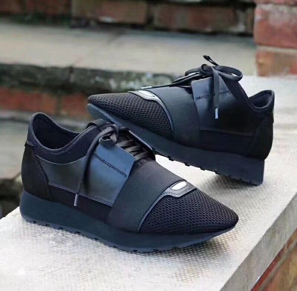 New Black leather fabric sneakers Top Quality Designer Low Top women Shoes Casual Kanye West Style Race Runner Mesh Breathable Flats