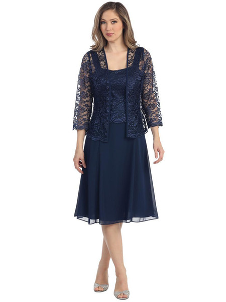 Women Short Mother The Bride Formal Lace Dress Jacket Chiffon Two Piece Set Mother of Groom Dress with Lace Jacke