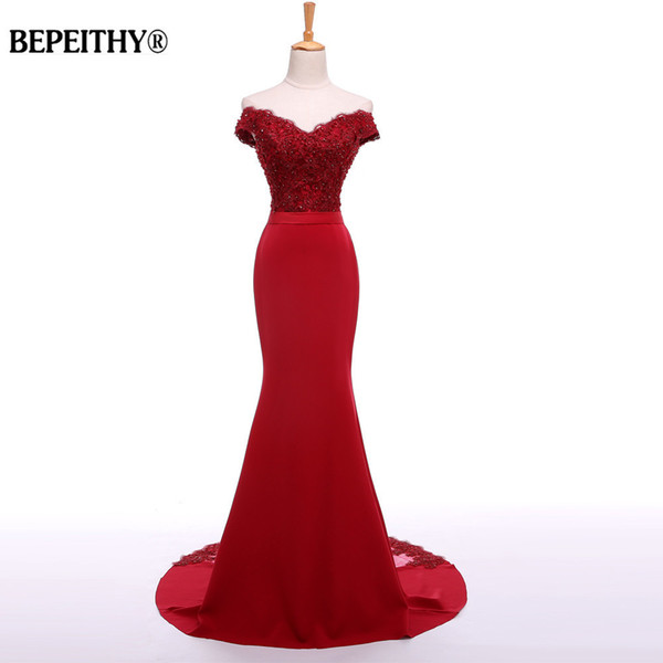 Bepeithy Sexy Off The Shoulder Long Evening Dress Party Elegant 2019 100% Handmade Beadings Mermaid Prom Gowns Fast Shipping Y19051401
