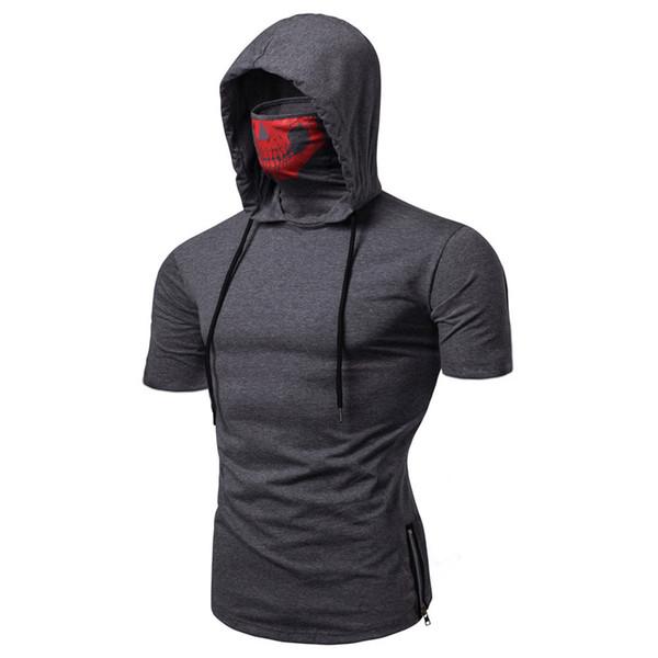 Hot Mens Tshirts Ninja Skull Mask Hooded Short Sleeved Shirts Fashion Zipper Split Tops Summer Clothing
