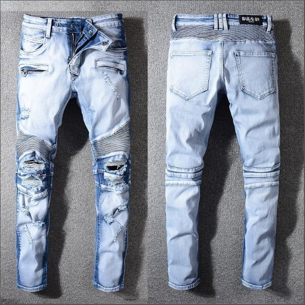 Calças de brim dos homens de design jeans Mens Denim Reta Motociclista Jeans Skinny Calças Casuais Cowboy Famosa Marca Designer de Zíper de Venda Quente