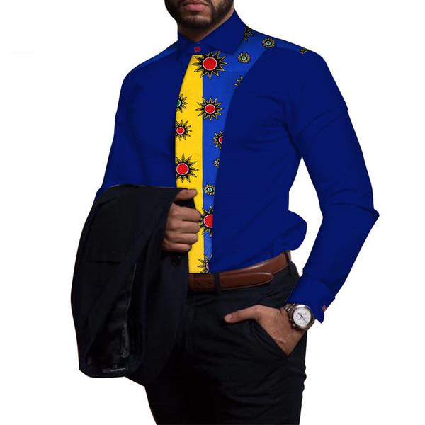 Coton Homme Chemise Africaine Vêtements Dashiki Patchwork Imprimé Chemise Hauts Bazin Riche Vêtements Africain Traditionnel WYN81