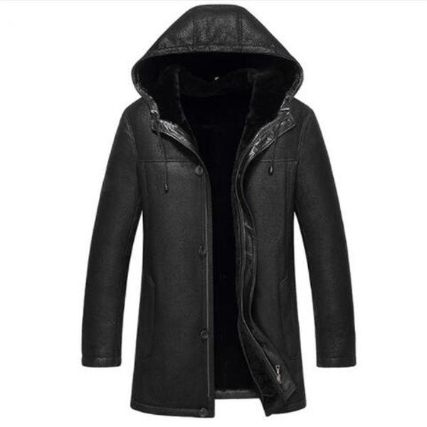 Kış erkek Hakiki Deri Ceket Koyun Ceket ve Mont ile Kaput Sıcak Çift yüzlü Kürk 2018 Yeni Artı Boyutu 4XL