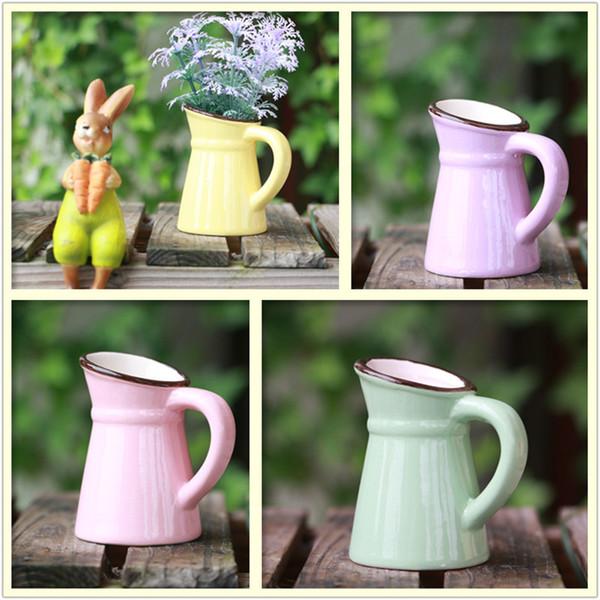 Meaty Flowerpot Mini Fashion Pastoral Style Creative Ceramics succulent pot Mixed Color Flower Vase Arts And Crafts Decorate Ornament 2rp p1