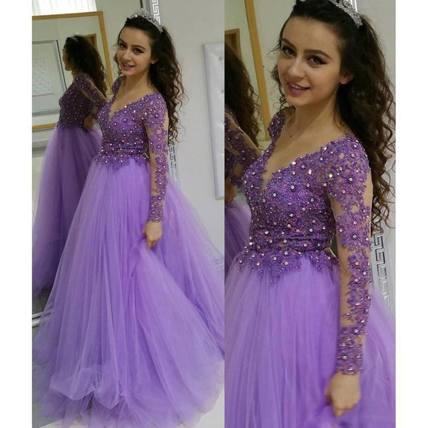 2019 Elegant Purple Evening Gowns Sheer Neck Lace Appliques With Crystals Tulle Ball Gown Long Sleeve Prom Dresses SP374