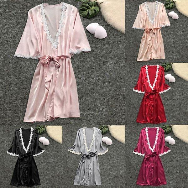 Mulheres de verão Robe De Seda Pad Fillet Pijamas Sexy Manga Longa Robes Camisole Saia Noite Homewear Com Rendas # 3