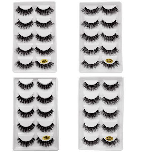 SHIDISHANGPIN false eyelashes mink eyelashes 5 pairs volume eyelash extensions faux mink lashes false lashes
