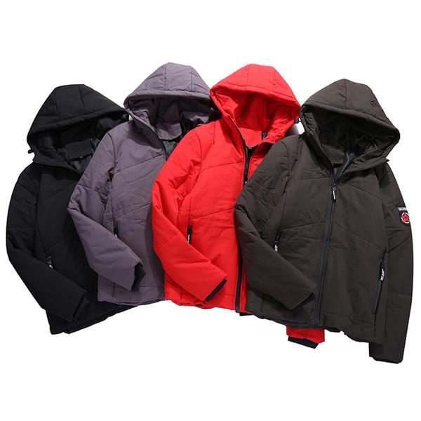 Mode Für Männer Mit Kapuze Parkas Einfarbig Winter Männliche Baumwolle Kleidung Patch Designs Winddicht Halten Warme männer Parkas Mäntel