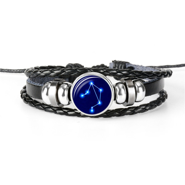 New Trendy Woven Charm Multilayer Leather Rope Beaded Women Men Bracelet 12 Horoscope Zodiac Libra Time Gem Glass Cabochon Wholesale Jewelry