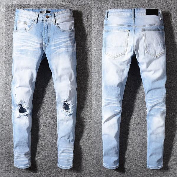 577 Mens Rasgado Rasgado Skinny Jeans Marca Designer de Motocicleta Moto Motociclista Denim EUA Tamanho 28 ~ 40 Hip Hop Do Punk Calças freeshipping