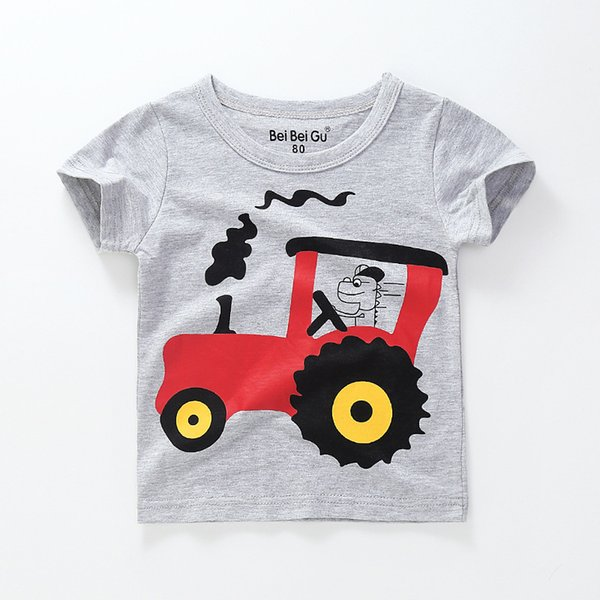 Foreign trade children's clothing summer new children's clothing cartoon car printing boy short-sleeved t-shirt kids clothes