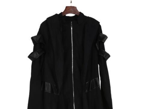Fashion-Medieval Vintage Long Overcoats Windbreakers Slim Hooded Coats Plus Size Womens Black Zipper Design Coats Skirt Outerwear