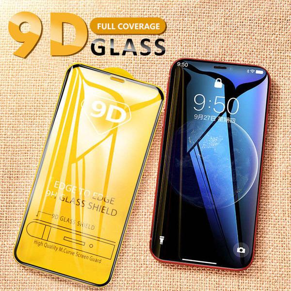 9D protezione dello schermo in vetro temperato per iPhone Pro 11 max Xs Max X XR completa Custodie Colla Film per Samsung S10 A50 M20
