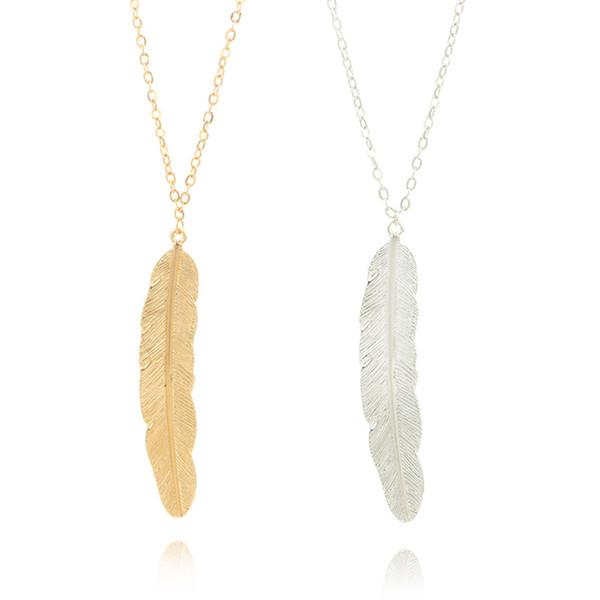Grandi foglie Pendente Collane Donna Oro Argento Colori Pendenti in lega di piume con catena da 24 pollici Gioielli di moda