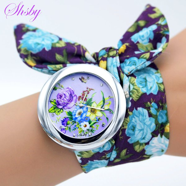 Shsby New design Ladies flower cloth wristwatch fashion women dress watch high quality fabric clock sweet girls bracelet