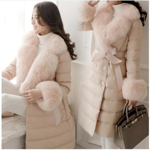 2019 Sıcak Satış Faux Fox Büyük Kürk Yaka Kış Ceket Kadın Ceket Kadın Moda Avrupa Tarzı 90% Beyaz Ördek Aşağı Parka