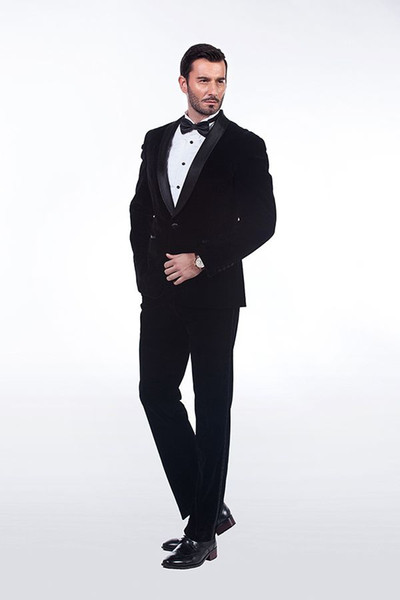 Classic Velveteen Shawl Lapel Wedding Tuxedos Slim Fit Suits For Men  Groomsmen Suit Two Pieces Prom Formal Suits Jacket+Pants 781 White Prom Tux  White