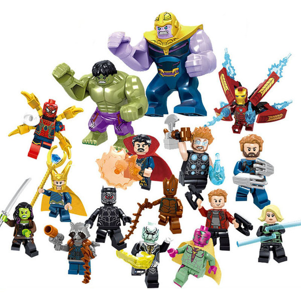 16pcs Avengers 3 Infinity War Super Hero Iron Man Hulk Rocket Thor Thanos Black Panther Spider Man Groot Building Block Toy Figure Brick