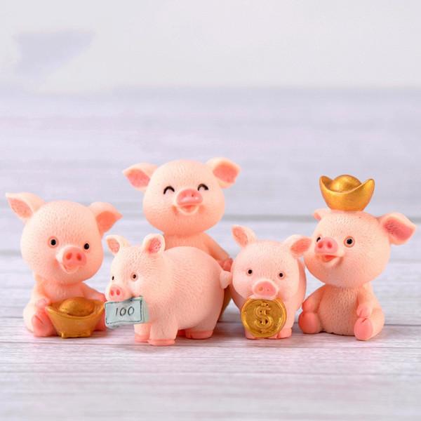 Piggy Kolye Finansman Etli Domuz Dekorasyon Reçine El Sanatları Karikatür Mikro Peyzaj Kek Araba Süs Domuzlar Yılı 1 2cjC1