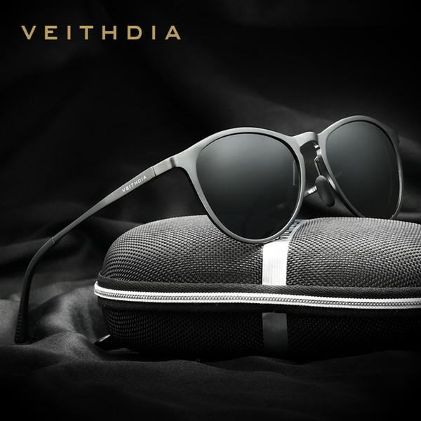 Veithdia Unisex Retro Aluminum Magnesium Brand Sunglasses Polarized Lens Vintage Eyewear Accessories Sun Glasses Men/women 6625 Y19052001