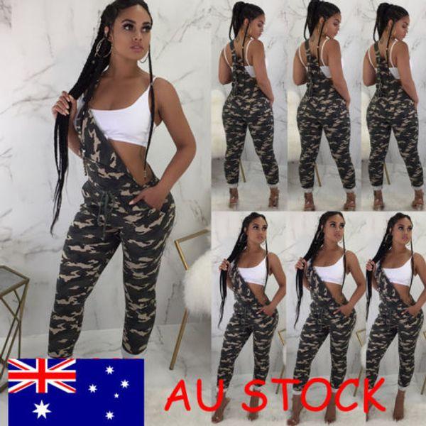Nuevo Camo Traje general Mujeres Correa Mono suelto Dungaree Señoras Casual Harem Pantalón general del ejército Pantalón de carga Tamaño S-2XL