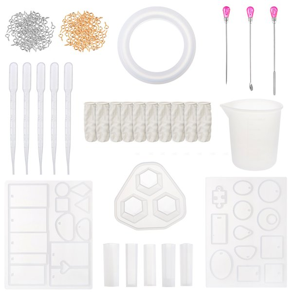 128pcs resin casting molds jewelry making silicone molds metal stirring rods droppers measuring cup finger cots screw eye pins thumbnail