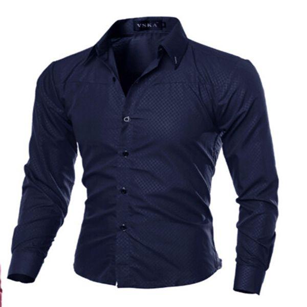 Casuali alla moda V-collo di modo Camicia sexy Slim Fit Shirt manica lunga da uomo di lusso Formal Tops NUOVE