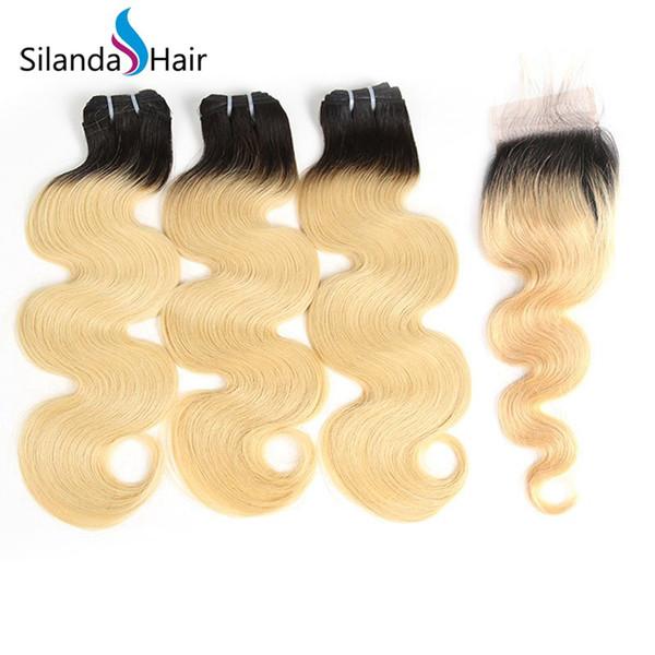 Silanda Hair Big Discount Cheap Body Wave #T 1B / 613 Bundles de tissage de cheveux brésiliens avec fermeture à lacets 4x4 Livraison gratuite