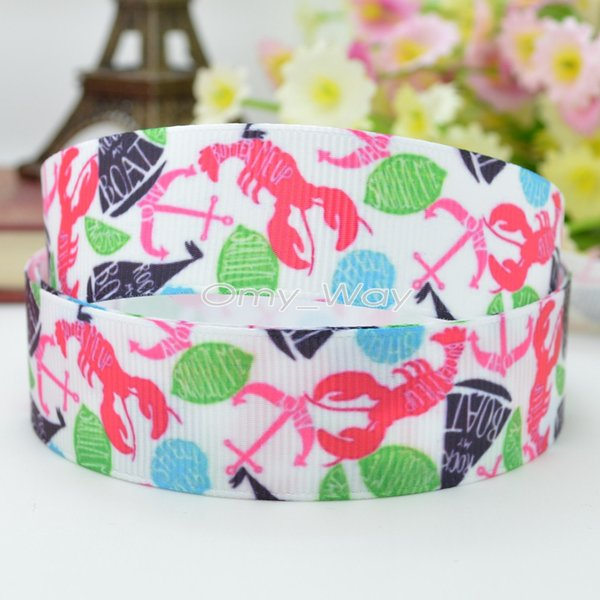 "Lilly Ribbons 7/8"" 22mm Lobsters Printed Grosgrain Ribbon Hair Bow DIY Handmade Crafts Gift Ribbon Print 50Yards"