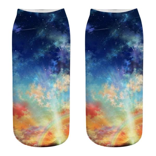 Evren Yıldızlı Gökyüzü Desen Spor Çorap 3D Dijital Baskı Tarzı Moda Kadın Erkek Koşu Spor Çorap Için Ayak Bileği Çorap Terlik