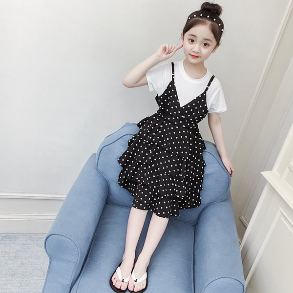 Fashion Girls dress chiffon wave point waist skirt new summer suit fashion princess dress children's wear