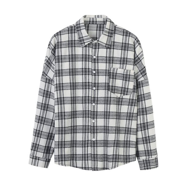 2019 fashion men s clothing new plaid mens casual shirt male Harajuku bf loose type jacket long sleeved cotton shirts with high quality