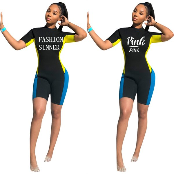 Q097 sexy Europe and the nightclub women's 2019 stitching letters printed short-sleeved jumpsuit fashion women